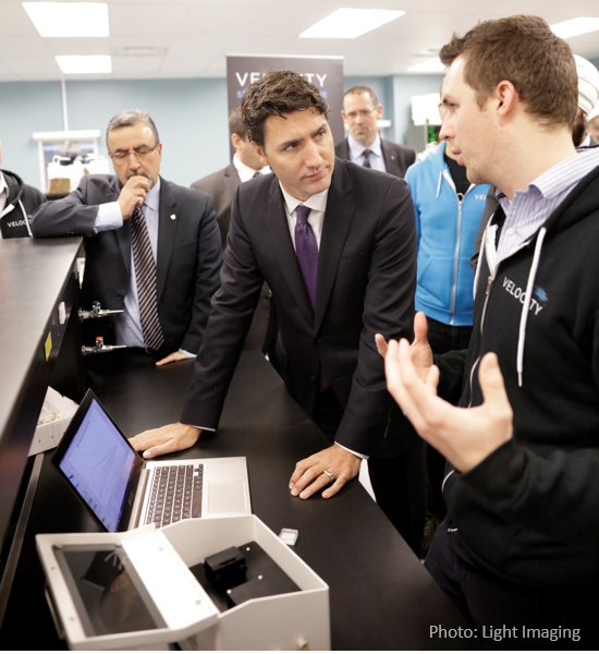 Justin Trudeau gets a demonstration of OpenSPR from Nicoya Lifesciences
